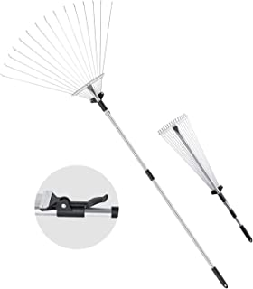 """ORIENTOOLS Steel Leaf Rake, Telescopic Leaves Rake with Adjustable 8""""- 23"""" Folding Head and Comfortable Grip Handle (15 Tines,32 to 63 inches)"""