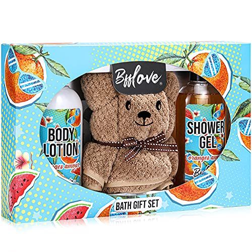 BFFLOVE Bath Gift Set for Women, Orange Scent Spa Gift Baskets, Birthday Gifts for Her, Home Bath Gift Box Including Shower Gel, Body Lotion & Hair Drying Towel, Best Relaxation Gifts for Women