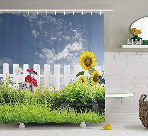 XZLWW Boerderij decoratieve douche gordijn gras veld met bar zonnebloem madeliefje haag werf bewolkte tuin decoratie