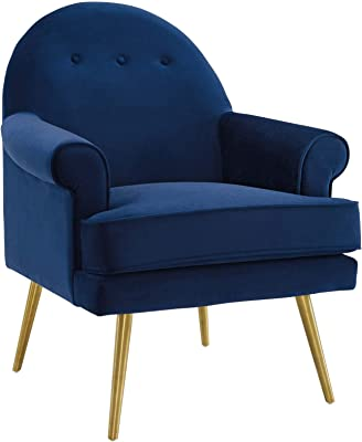 Modway Revive Mid-Century Modern Upholstered Performance Velvet Accent Lounge Arm Chair in Navy