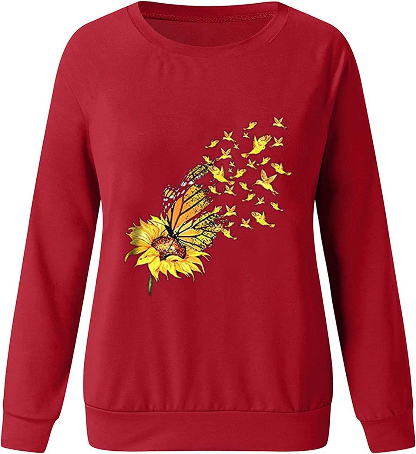 Womens Blouse Top,Womens Casual Long Sleeve Sunflower Print Graphic Tee Tops for Leggings Fashion Blouse Shirts Tunic