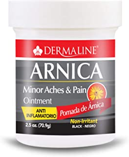 Dermaline - Arnica Salve Aches and Pain Relief Ointment - Anti Inflammatory - Soreness and Bruises - Black