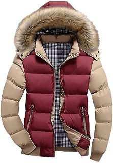Men Faux Fur Hooded Parka Outerwear Winter Zipper Jacket Coat