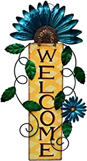 Attraction Design Welcome Sign for Front Door Decor Hanging Sign, Metal Flower Welcome Door Sign Wall Art Decor Hanging fo...