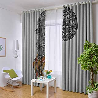White Curtains Indie,Abstract Skull with Floral Ornaments and Red Beard Patterns Artsy Punk, Black Pale Grey Orange,W42 by L63 Inch Suitable for Bedroom