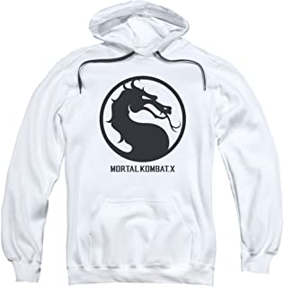 Mortal Kombat X Fighting Video Game Dragon Seal Logo Adult Pull-Over Hoodie White
