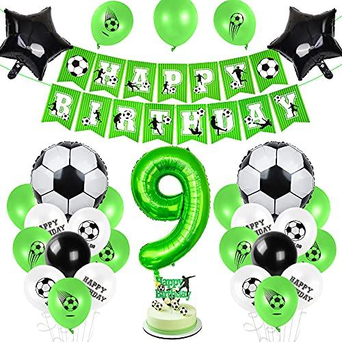 Aurasky Fußball 9 Geburtstag Deko, Luftballon 9. Geburtstag Grün, 9 Ballon Fußball Deko, Geburtstagsdeko Jungen 9 Jahr, 9.Geburtstagsdeko Fußball, 9.Geburtstagsdeko Jungen, Ballon 9. Geburtstag