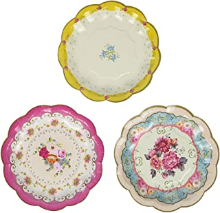 Talking Tables Tea Party Vintage Floral Paper Plates | Truly Scrumptious | Also Great For Birthday Party, Baby Shower, Wedding And Anniversary | 12 Count