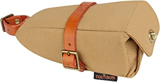 TOURBON Canvas and Leather Strap-On Bike Saddle Bag Bicycle Seat Pack Bag