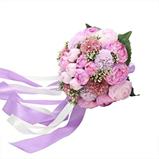 Febou Wedding Bridal Bouquet, Silk Peony Wedding Bride Bouquet, Wedding Holding Bouquet with Artificial Peony Long Ribbons, Perfect for Wedding, Party, Churchh (D-Purple)
