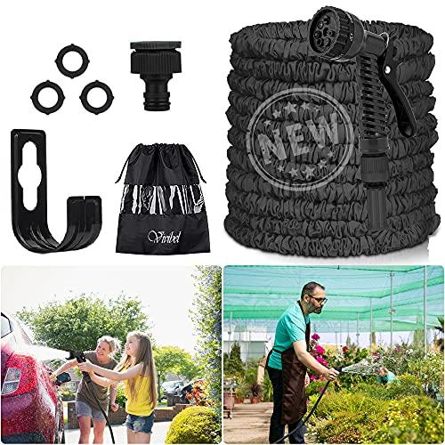 Vivibel Gartenschlauch 30M Wasserschlauch - Latex Flexible Schlauch, Flexibler Gartenschlauch mit 7 Funktion Handbrause, Wandmontage Knickfrei Wasserschlauch für Autowäsche, Gartenbewässerung, Yard