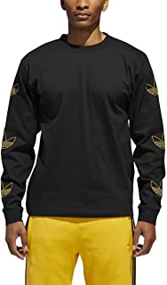 Originals Men's Trefoil Long Sleeve Tee Arm Embroidery Black/Gold T-Shirt - DV3152