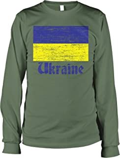 Hoodteez Flag of Ukraine, Support Ukraine, Pride Men's Long Sleeve Shirt