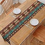 GLENLCWE Southwest Stripe Native Aztec Table Runner Long 108 Inch Ethnic Tabletop Decoration Farmhouse Style Festival Party Home Decor