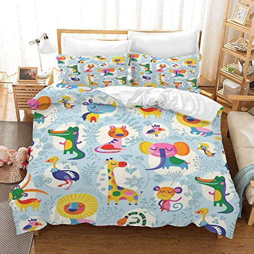 QI Duvet Cover Sets 3D Animal Decorative Pattern Printing Child Adult Bedding Set 100% Polyester Gift Duvet Cover 3 Pieces With 2 Pillowcases G-US Full79'*90'(200 * 229cm)