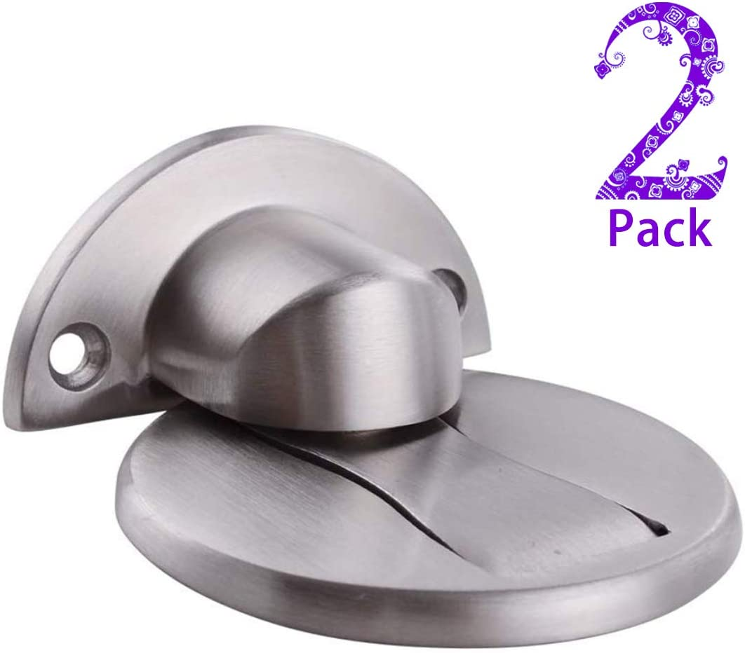 Stainless Steel Dome Shaped Door Holder Keep Door Open,Brushed Satin Nickel Chrome 3M Adhesive Tape Floor Mount,Black 1 Pack Soft-Catch Magnetic Door Catch Door Stopper Magnetic Door Stop