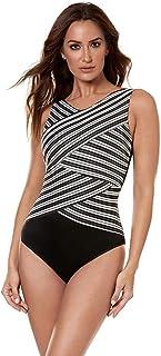 3f66fefdaa Miraclesuit Women s Swimwear Gilt Trip Brio High Neckline Underwire Bra  Tummy Control One Piece Swimsuit