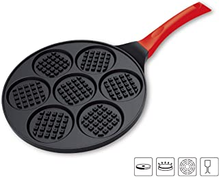 TAOKEY pancake pan nonstick,pancake griddle,pancake mold, 10 Inch Mini Grill Pan with 7 Flapjack Faces Waffle Maker Non-stick Breakfast Pan for Pancake (red)