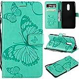 WindTeco Funda para Xiaomi Redmi Note 4 / Note 4X, Mariposa Patrón Carcasa Libro con Correa de Mano Cubierta de Billetera Silicona Case Protectora Soporte y Ranuras para Tarjetas, Verde
