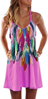WYAN Women's Sleeveless Colorful Feathers Print Double Straps Halter T Shirt Dress