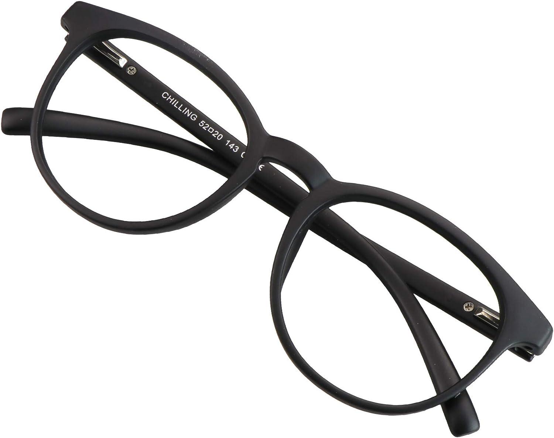Blue Light Blocking Glasses for Women/Men, Anti Eyestrain, Computer Reading, TV Glasses, Stylish Oval Frame, Anti Glare(Black, No Magnification)