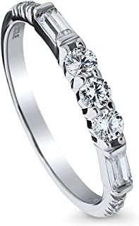 BERRICLE Rhodium Plated Sterling Silver Cubic Zirconia CZ Art Deco Anniversary Wedding Half Eternity Band Ring