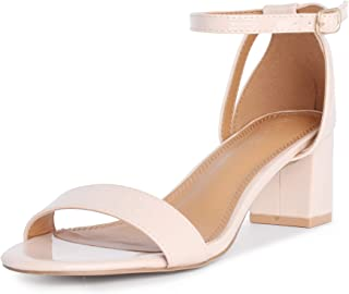 Women's Chunky Low Heeled Sandals Block Ankle Strap Open Toe Heels for Dress Wedding Party