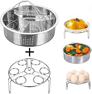 Smooce Instant Pot Accessories - Cesta de vapor con estante para cocinar huevos al vapor, separador, se adapta a olla a presion instantánea de 5,6,8 cuartos de galón, acero inoxidable, 3 piezas