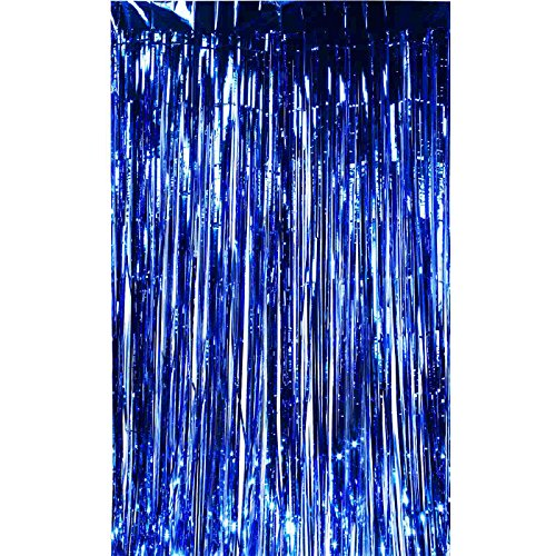 Vlovelife 3.3ft x 6.6ft Royal Blue Foil Fringe Metallic Curtains Tassel Garlands Backdrop,Ceremony Background,Tassel Birthday Baby Shower Party Decration