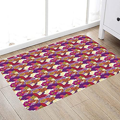 Alfombra de baño súper Suave de 50 x 80 cm,Flores de orquídeas de Colores Vibrantes y Coloridos con Estilo de Dibujo a Mano de Aspecto vinta Alfombra de baño Absorbente Antideslizante