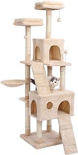 [Amazonブランド] Umi.(ウミ) キャットタワー ねこタワー 猫爪とぎ つめとぎポール 猫のおもちゃ 高い ベージュ