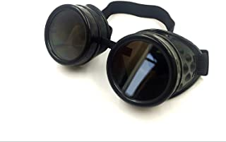 Cyber Goggles Steampunk Welding Goth Cosplay Vintage Goggles Rustic (Black)