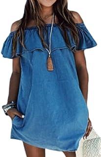 0f712620d14ffe Fasumava Le Donne Eleganti Estate Shouder Maniche Corte Balze Finti Jeans  Mini Vestito