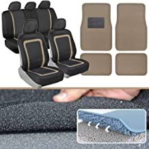 ADV Performance Car Seat Covers - Automotive Interior Protection - PolyCloth Honeycomb Carbon Fiber with Accent Trim (Beige Trim, Seat Covers & Floor Mats)