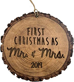 First Christmas as Mr. & Mrs. 2019 Rustic Wood Ornament, Newlywed Gift, Wedding Ornament, 4 Inch Round, Laser Engraved
