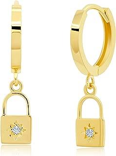 Genuine 14K Yellow Gold Minimalist Huggie Hoop Earrings with Dangle Padlock Charm with CZ Detail