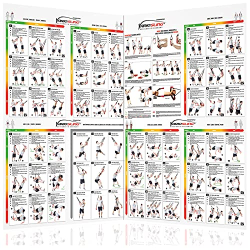 Variosling Gran Póster/Cartel de Entrenamiento en Suspensión con 54 Ejercicios | Plan/Rutina/instrucción del Entrenamiento Funcional/Muscular | Dos Piezas (anverso y Dorso), tamaño A1
