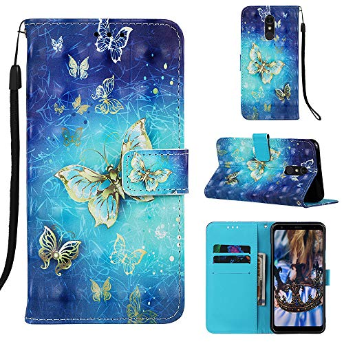 Voanice for LG Stylo 5 Case,LG Stylo 5 Wallet Case,Premium PU Leather Flip Cover with Card Holder Slots Cash Pocket [Kickstand] Wrist Strap Magnetic Closure Protective for LG Stylo 5 -Blue Butterfly
