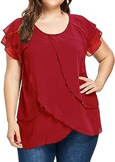 Women Casual Chiffon Plus Size Solid O-Neck T-Shirt Short Sleeve Ruffles Blouse Top