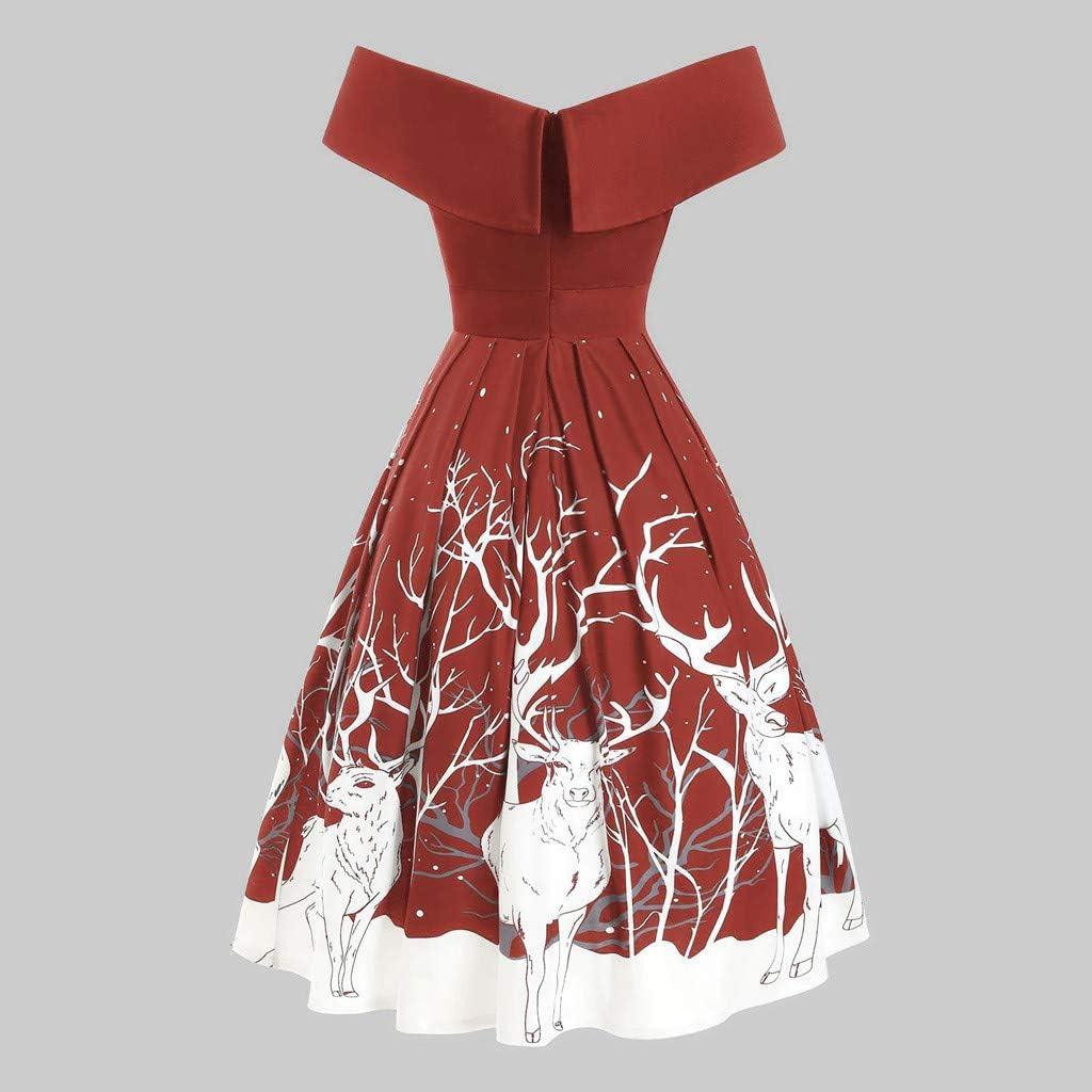 TWIFER Damen Weihnachtskleider Cocktailkleid Vintage Frohe Weihnachten Print Off Schulter Abend Partykleid