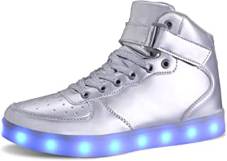 MILEADER Unisex High Top LED Shoes Light Up Shoes with Remote Control USB Charging Flashing Sneakers for Women Men