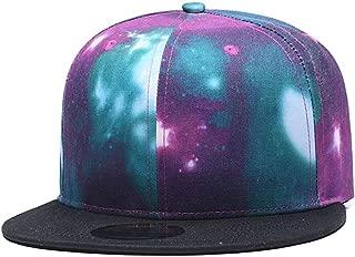 Purple Galaxy Snapback Hat Unisex Trucker Hat Hip Hop Plaid Flat Bill Brim Adjustable Baseball Cap