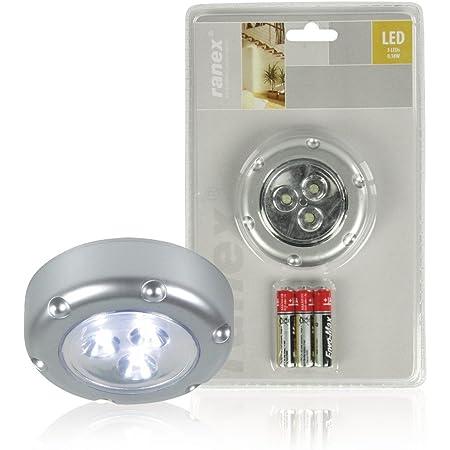 Ranex 6000.072 Push Light LED Florenz Gris Fonctionne avec 3 Piles AAA Fournies