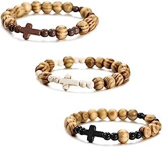 3~12PCS Alloy Genuine Leather Wood Bracelet Bangle Cross Pentagram Pentacle Bead Mala Elastic Rope Adjustable Set