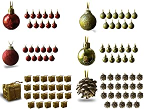 BANBERRY DESIGNS Mini Christmas Ornaments - Assorted Set of 96 Ornaments - Red and Gold Mini Ball Ornaments - Pinecones an...