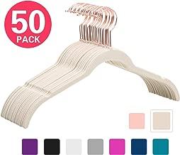 MIZGI Premium Velvet Shirt Hangers (Pack of 50) - Non Slip Felt Dress Hangers Ivory - Copper/Rose Gold Hooks,Space Saving Clothes Hangers (Ivory)