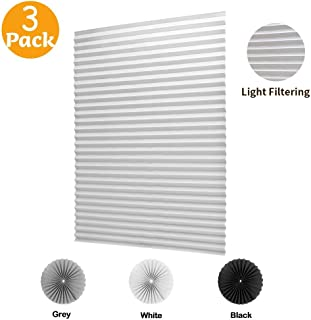 LUCKUP 3 Pack Cordless Light Filtering Pleated Fabric Shade,Easy to Cut and Install, with 6 Clips (36