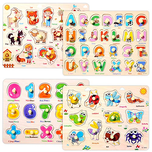 Wooden Peg Puzzles Set for Toddlers 2 3 4 Years Old, Alphabet ABC, Numbers and Farm Animals Learning Puzzles Board for Kids, Preschool Educational Pegged Puzzles Activity Toys Gift for Boys Girls