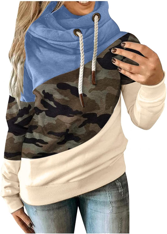 LEIYAN Womens Casual Cowl Turtleneck Hoodies Long Sleeve Camo Color Block Drawstring Sweatshirt Pullover Outerwear