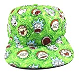 Rick and Morty Sublimated All Over Faces and Portals Snapback Hat Green